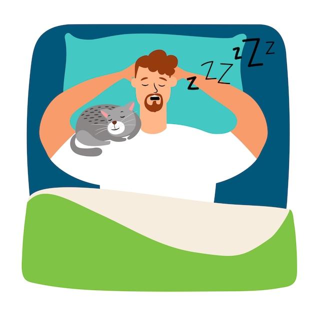 Homem dormindo na cama com gato Vetor Premium