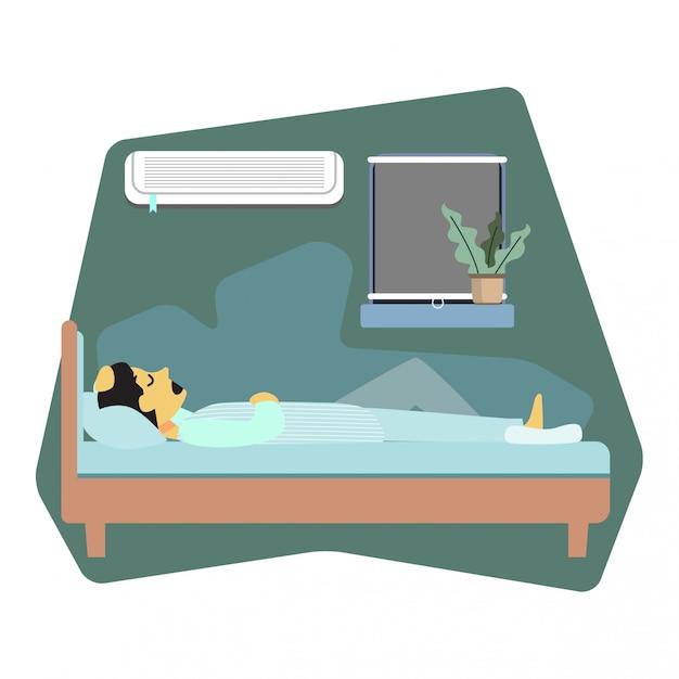 Homem, dormir, cama, ilustração Vetor Premium