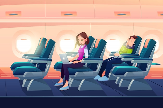 Homem dormir no trabalho de menina freelancer de avião Vetor grátis