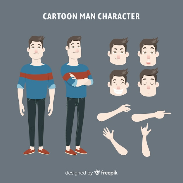 Homem dos desenhos animados para design de movimento Vetor grátis