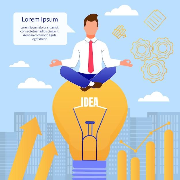 Homem dos desenhos animados pensa em pose de meditação na lâmpada Vetor Premium
