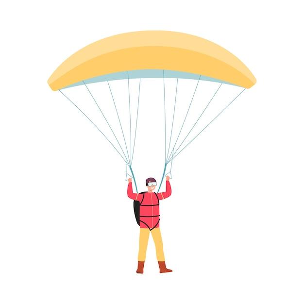Homem dos desenhos animados pulando com pára-quedas amarelo e sorrindo sobre fundo branco - amante de esportes radicais em pé com equipamento completo de paraquedismo. ilustração Vetor Premium