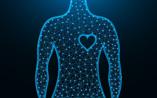 Homem e coração símbolo baixo poli design, imagem geométrica abstrata de saúde humana, wireframe malha ilustração vetorial poligonal feita de pontos e linhas Vetor Premium