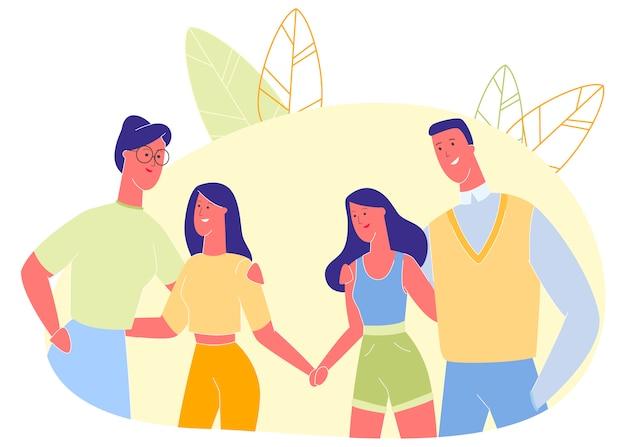 Homem e mulher, abraçando crianças, relacionamento. Vetor Premium