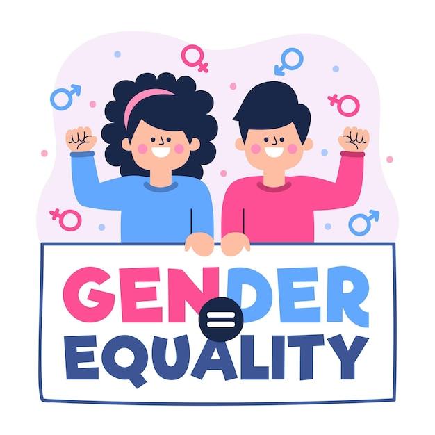 Homem e mulher aceitando a idéia de igualdade de gênero Vetor grátis