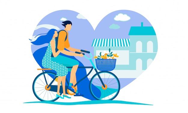 Homem e mulher andando de bicicleta no fundo da cidade Vetor Premium