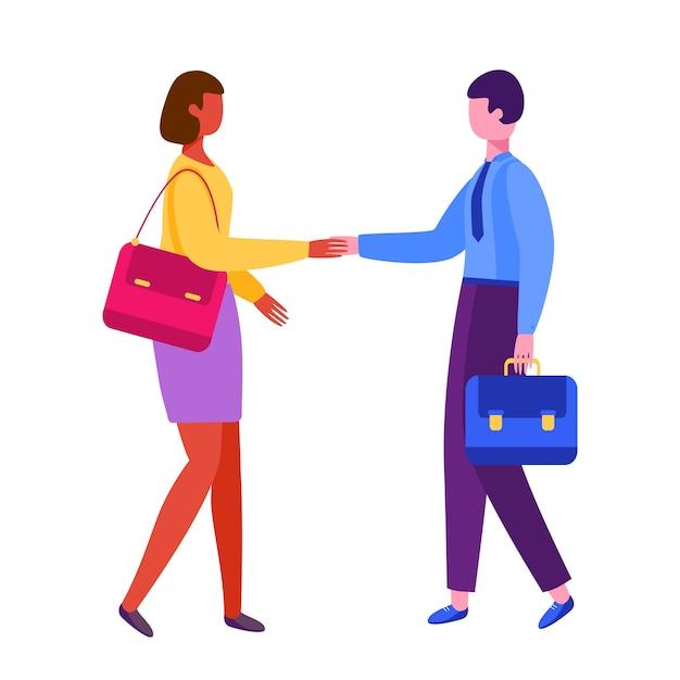 Homem e mulher apertando as mãos. parceria de empresário. entrevista de emprego, emprego. Vetor Premium
