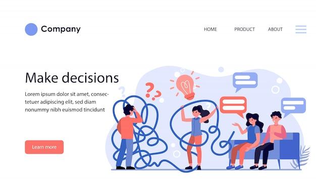 Homem e mulher com problemas ao tomar decisões. modelo de site ou página de destino Vetor grátis