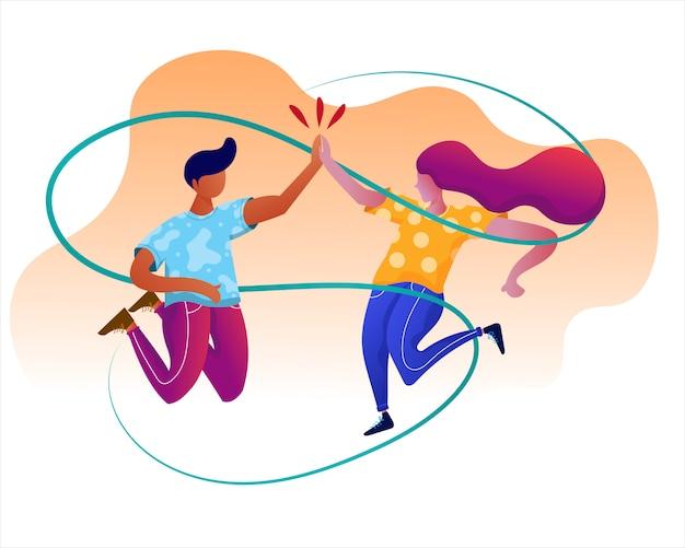 Homem e mulher comemoram sucesso com ilustração de cinco Vetor Premium