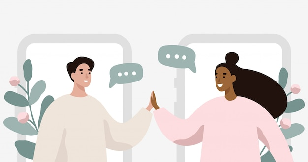 Homem e mulher conversando. Vetor Premium