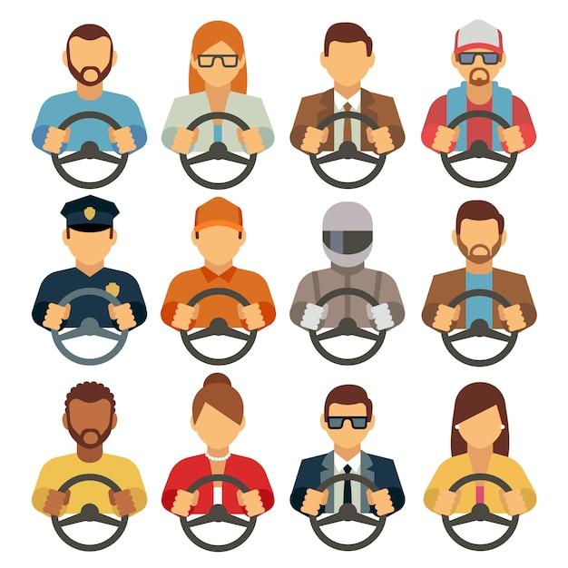 Homem e mulher drivers ícones planas. condução homem correio ou operador Vetor Premium