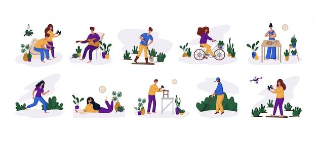 Homem e mulher e seu hobby ou atividade diária Vetor Premium