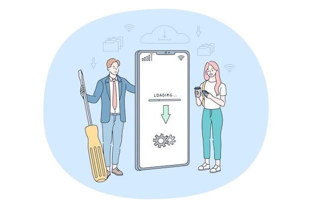 Homem e mulher em pé perto de uma tela grande de smartphone Vetor Premium
