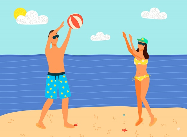 Homem e mulher em trajes de banho jogando bola inflável Vetor Premium