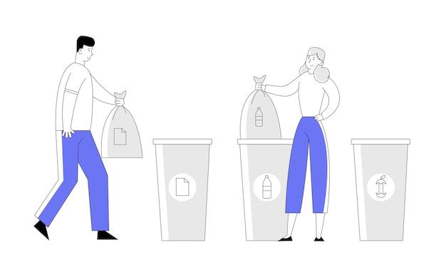 Homem e mulher jogam lixo em embalagens e bolsas de reciclagem. Vetor Premium