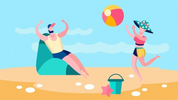 Homem e mulher jogando bola ilustração plana de jogo Vetor Premium