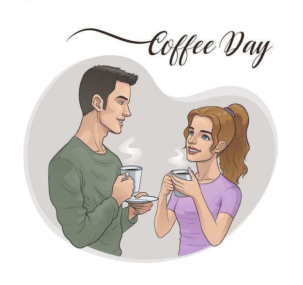 Homem e mulher tomando café Vetor Premium