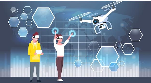 Homem e mulher usando óculos de realidade virtual 3d com zangão moderno Vetor Premium