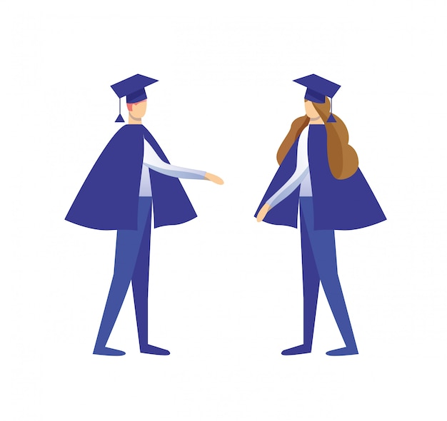 Homem e mulher vestida de manto e boné acadêmico Vetor Premium