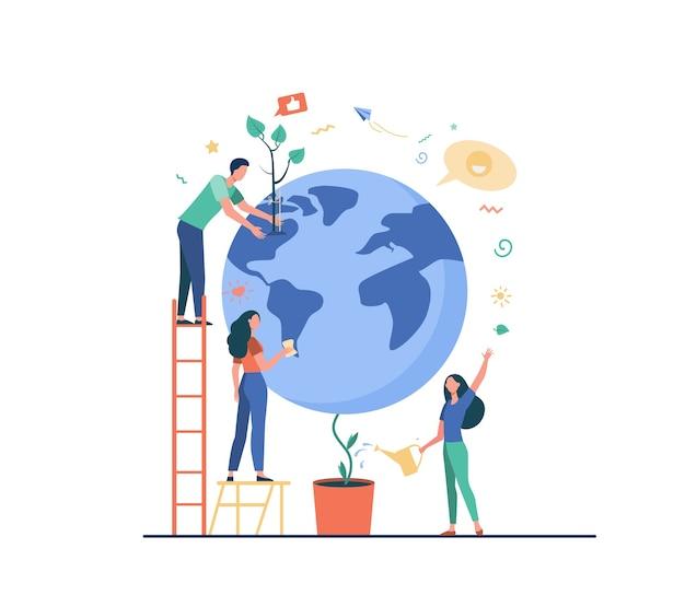 Homem e mulheres protegendo a planta na ilustração vetorial plana globo isolado. pessoas dos desenhos animados, salvando a natureza terrestre. conservação do mundo, eco ciência e meio ambiente Vetor grátis
