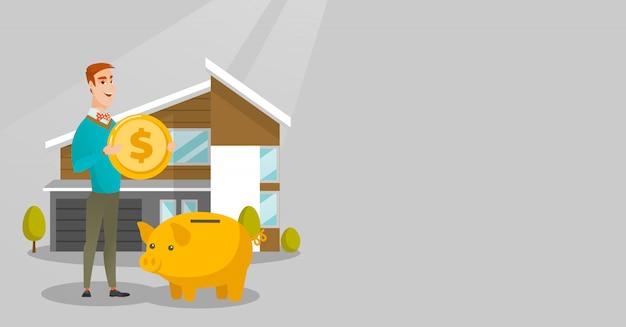 Homem economizando dinheiro no cofrinho para comprar casa. Vetor Premium