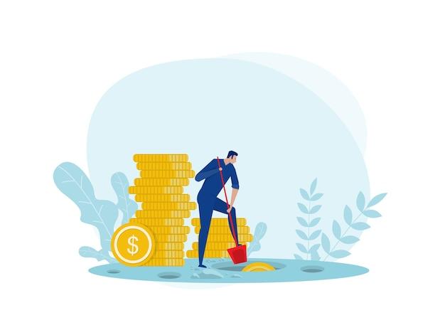 Homem em busca de dinheiro escondido Vetor Premium