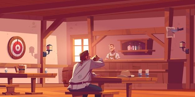 Homem em cervejaria com barista na mesa, bancos e mesas Vetor grátis