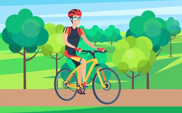 Homem, em, ciclismo, roupa, ligado, bicicleta, ilustração Vetor Premium