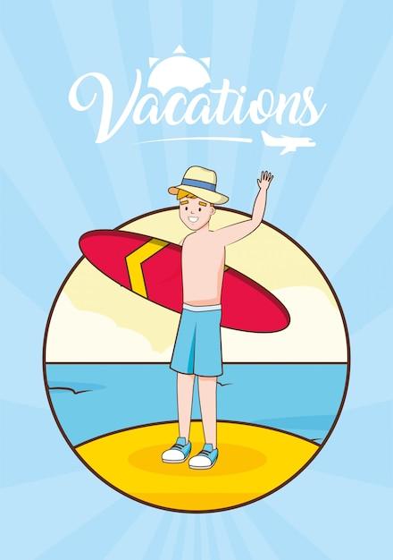 Homem, em, praia, férias Vetor grátis