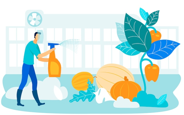 Homem em processos de máscara protetora vegetal. vetor Vetor Premium