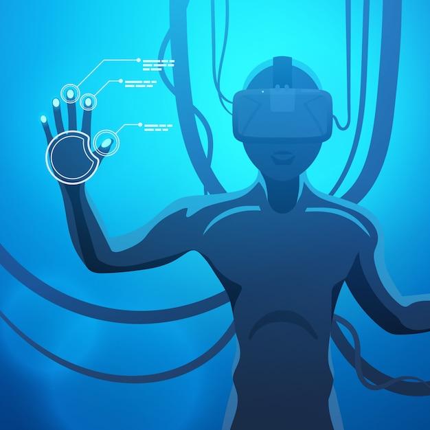 Homem em um capacete de realidade virtual Vetor Premium