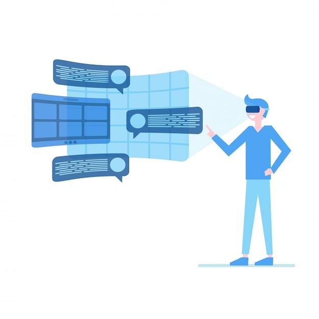 Homem, em, virtual, óculos realidade Vetor Premium