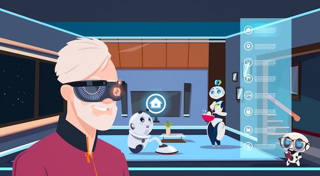 Homem, em, vr, óculos, olhar, grupo, de, robôs, housekeepers, limpeza, vivendo quarto Vetor Premium
