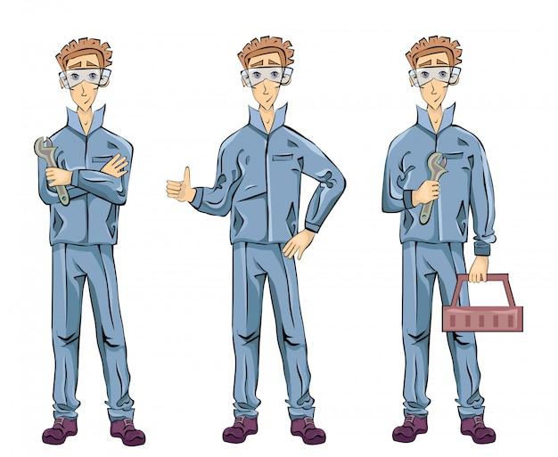 Homem encanador mecânico ou instalador segurando uma chave inglesa, caixa de ferramentas e mostrando os polegares para cima gesto. conjunto de ilustração, em fundo branco. Vetor Premium