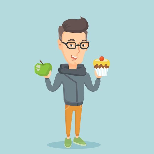 Homem escolhendo entre apple e cupcake. Vetor Premium