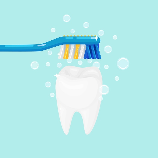 Homem escovando dentes com escova e pasta de dente Vetor Premium