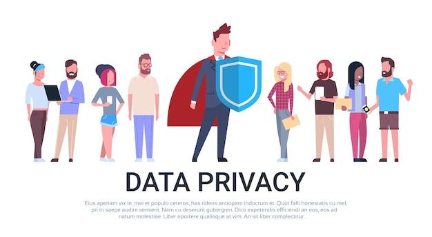 Homem escudo mix corrida equipe gdpr data privacy Vetor Premium
