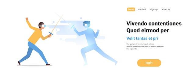 Homem esgrimista desgaste digital vidros lutando com realidade virtual oponente atleta vr visão headset conceito inovação Vetor Premium