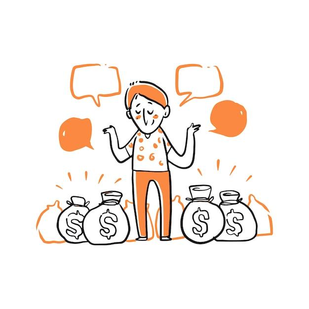 Homem está entre ilustração de sacos de dinheiro Vetor Premium