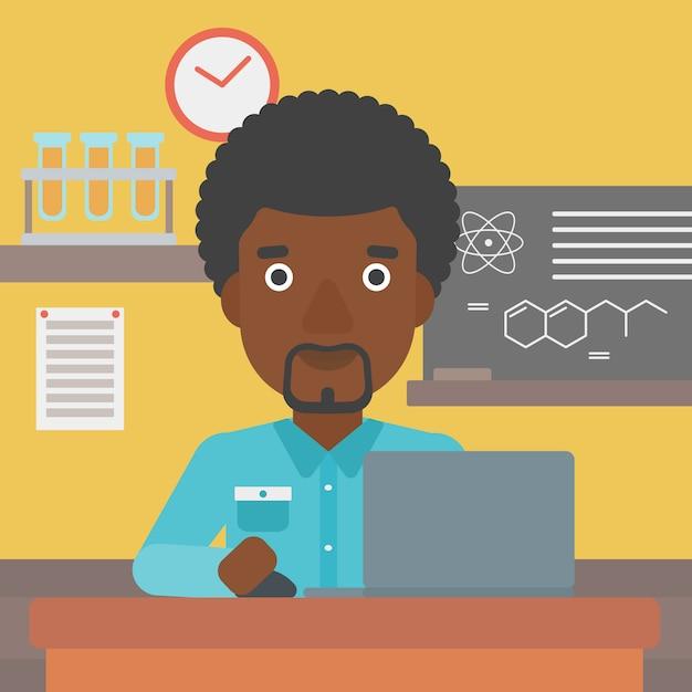 Homem estudando com laptop. Vetor Premium