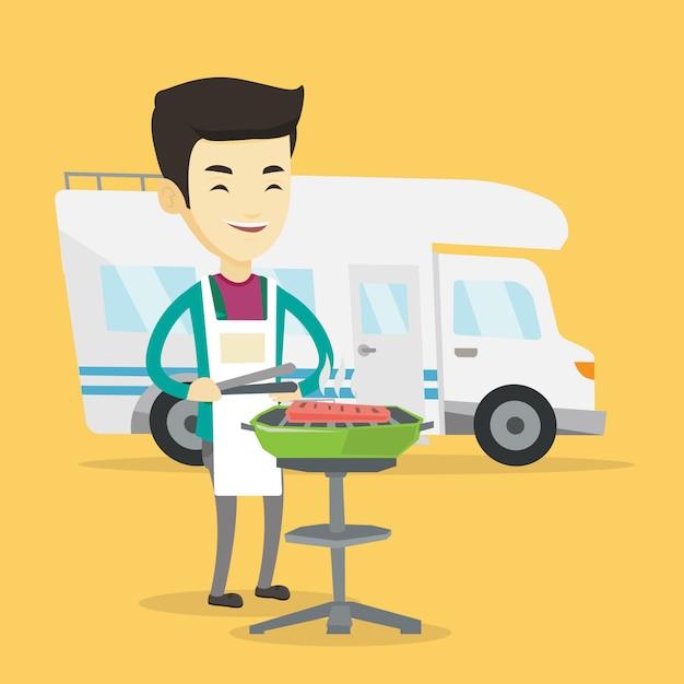 Homem fazendo churrasco na frente da van campista. Vetor Premium