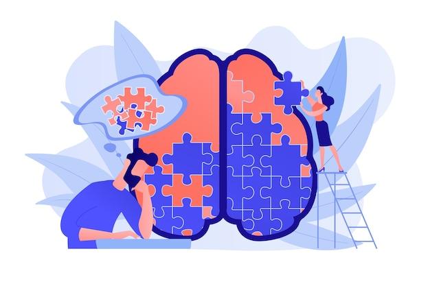 Homem fazendo quebra-cabeça do cérebro humano. sessão de psicologia e psicoterapia, cura mental e bem-estar, terapeuta aconselhando doenças mentais e dificuldades paleta violeta. ilustração isolada em vetor. Vetor grátis
