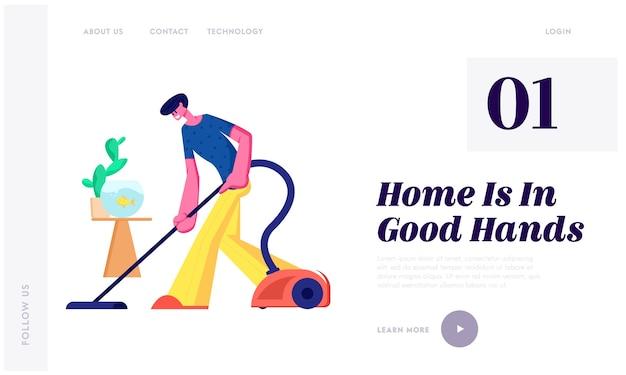 Homem fazendo trabalho doméstico, limpando chão tarefas rotineiras todos os dias Vetor Premium