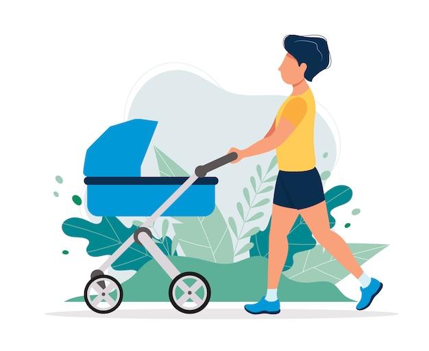 Homem feliz com um carrinho de bebê no parque. Vetor Premium