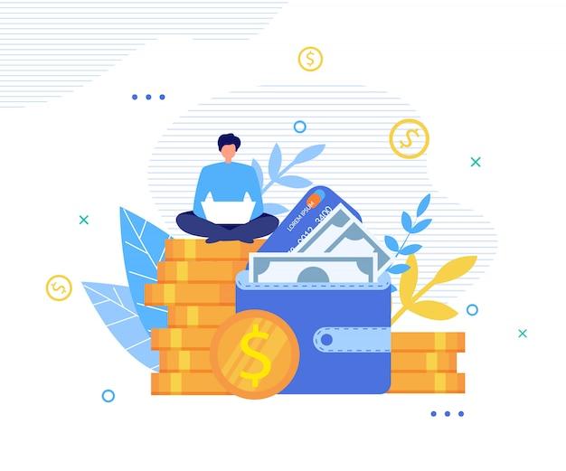 Homem feliz fazendo dinheiro online na metáfora do laptop Vetor Premium