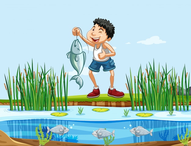 Homem feliz, pesca, em, natureza Vetor Premium