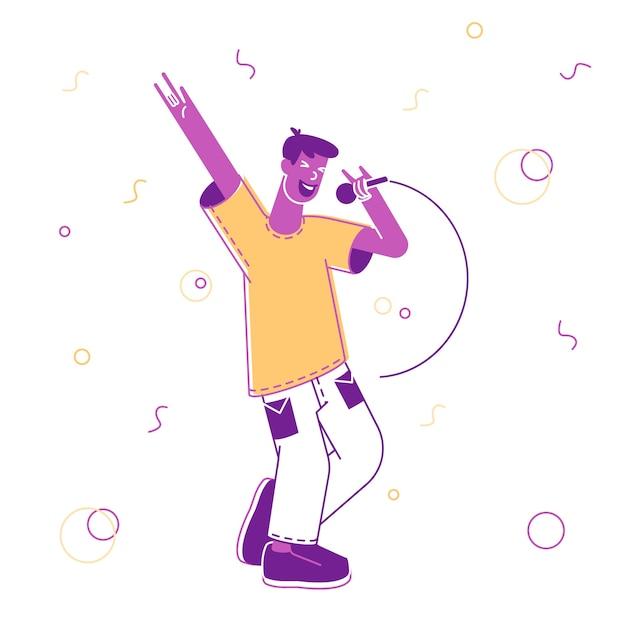 Homem feliz se divertindo cantando em um bar de karaokê ou boate Vetor Premium