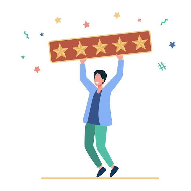 Homem feliz segurando cinco estrelas douradas. cliente, crítica, ilustração plana de mídia social Vetor grátis