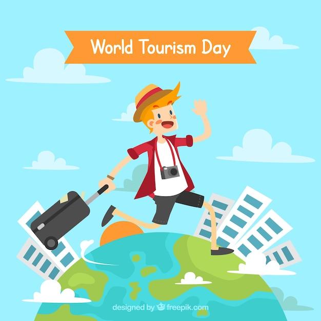 Homem feliz viajando pelo mundo, dia mundial do turismo Vetor grátis
