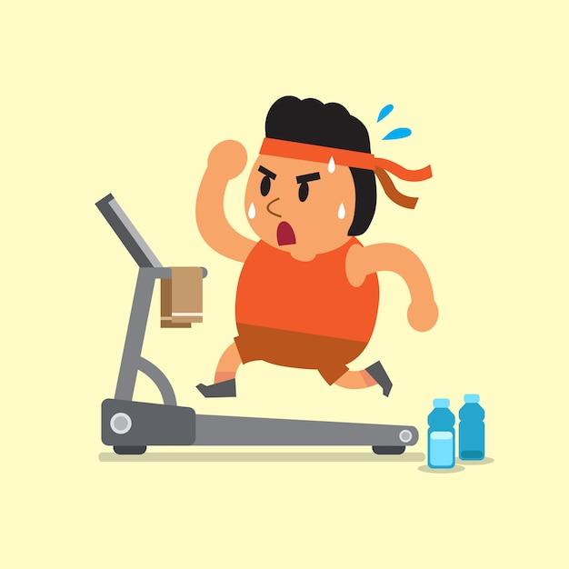 Homem gordo dos desenhos animados, correndo na esteira Vetor Premium